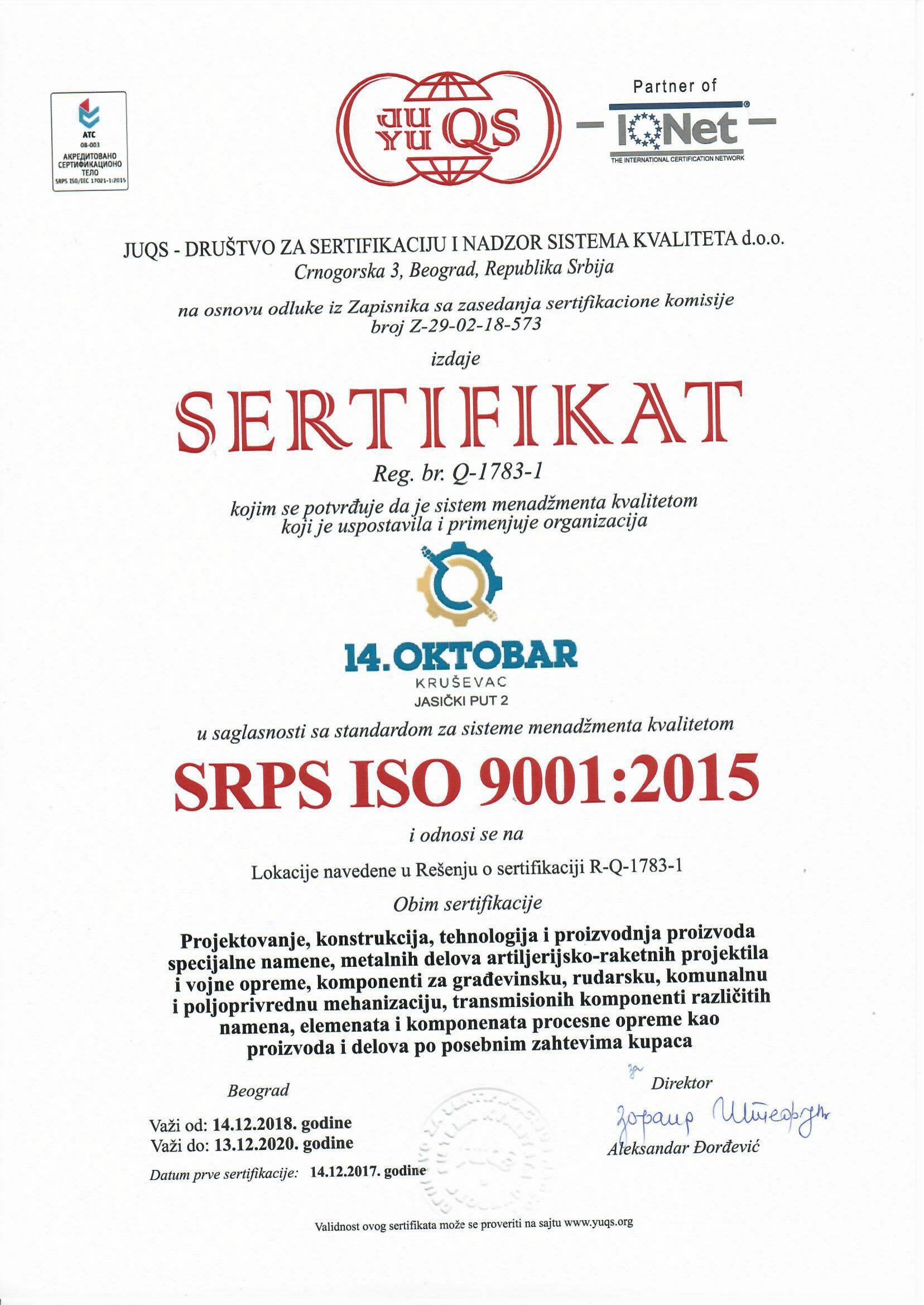 ISO 9001 2015 14. OKTOBAR-1