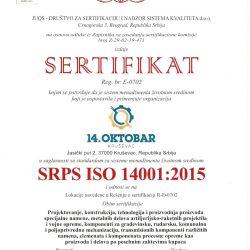 Sertifikat SRPS ISO 14001-2015-14OKTOBAR