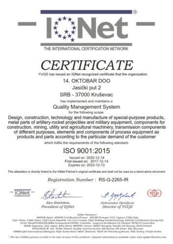 IQ Net Sertifikat ISO 9001-2015 14 OKTOBAR